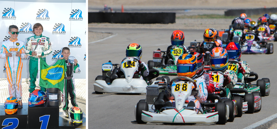 pilot one racing | kaylen frederick | kaylen on podium in 2nd place and action shot of kart race