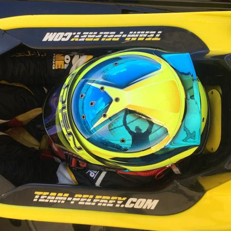 pilot one racing | kaylen frederick | racing helmet from above