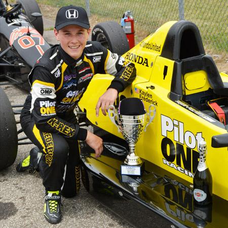 pilot one racing | kaylen frederick | kaylen with car and trophy